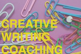 "Paperclips on a purple background with the text ""Creative Writing Coaching"""