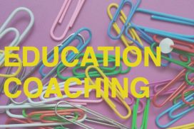 "Paperclips on a purple background with the text ""Education Coaching"""