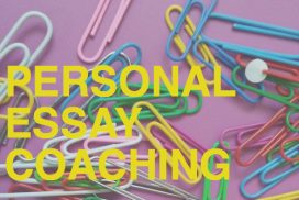"Paperclips on a purple background with the text ""Personal Essay Coaching"""