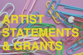 """Paperclips on a purple background with the text """"Artist Statements & Grants"""""""
