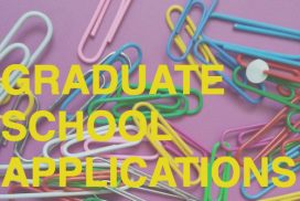 """Paperclips on a purple background with the text """"Graduate School Applications"""""""
