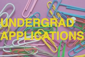 """Paperclips on a purple background with the text """"Undergrad Applications"""""""