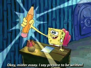 SpongeBob holding a pencil about to write his essay